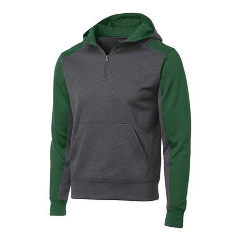 sport tek tech fleece colorblock  zip hooded