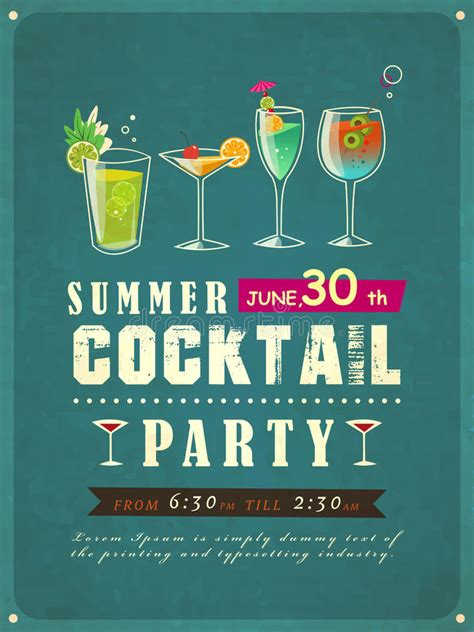 Summer Cocktail Party Poster Stock Vector Illustration