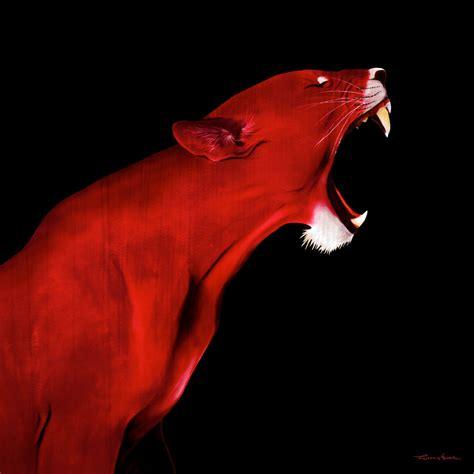 LIONESS RED LIONESS-Thierry Bisch Animal painter