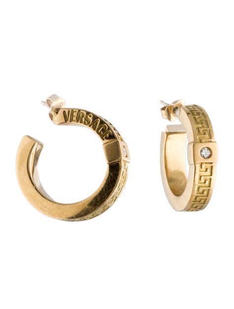 versace greek key hoop earrings earrings