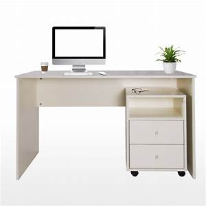 Milton Study Table with Drawer Cabinet Cream Furniture