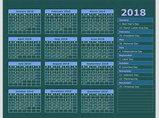 holidays 2018 Calendar printable for Free Download India