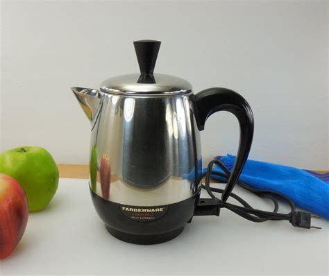 Browse coffee makers, food processors, percolators and more. Farberware NY USA Vintage 4 Cup Coffee Percolator Pot - Model 134B | Percolator coffee ...