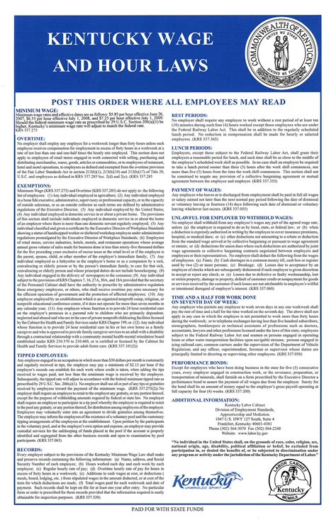 ky labor cabinet division of employment standards labor posters available for free to kentucky employers