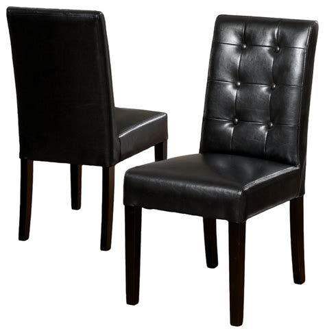 gillian black leather dining chair set of 2 modern