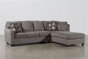 Zella charcoal 2 piece sectional w raf chaise living spaces for Zella sectional sofa