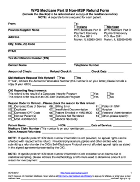 medicare part b non msp refund form fill