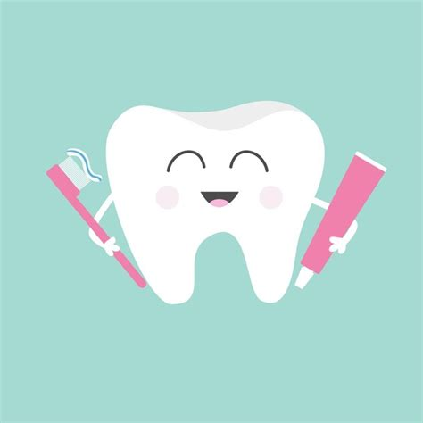 Kitchen Design Idea - tooth holding toothpaste and toothbrush smiling character children teeth