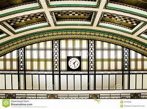 Art deco station interior with clock stock photo image for Art deco train interior