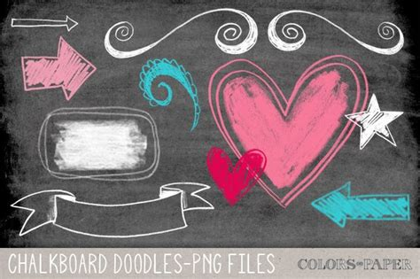 chalkboard doodles clipartbrushes illustrations