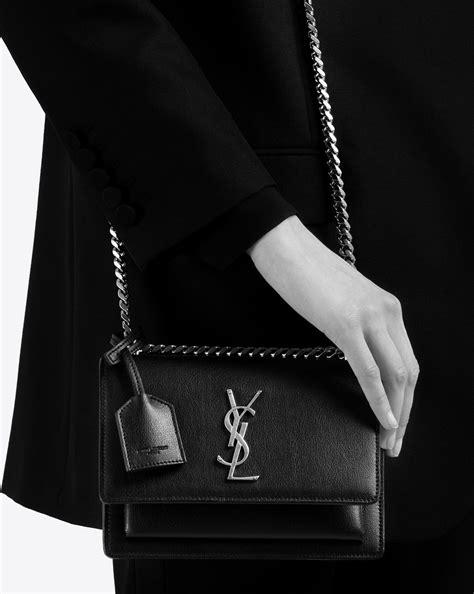 lyst saint laurent small sunset monogram bag  black grained leather  black