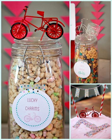 Bicycle Birthday Party (in Aqua, Red And Pink