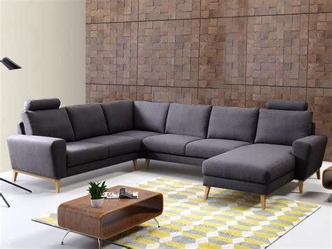 canapé angle panoramique canapé d 39 angle panoramique en tissu bleu ou gris visby