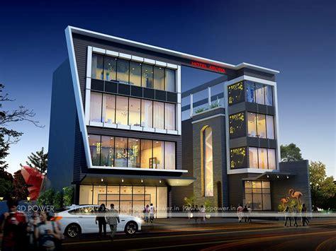 corporate building design  rendering exclusive night view