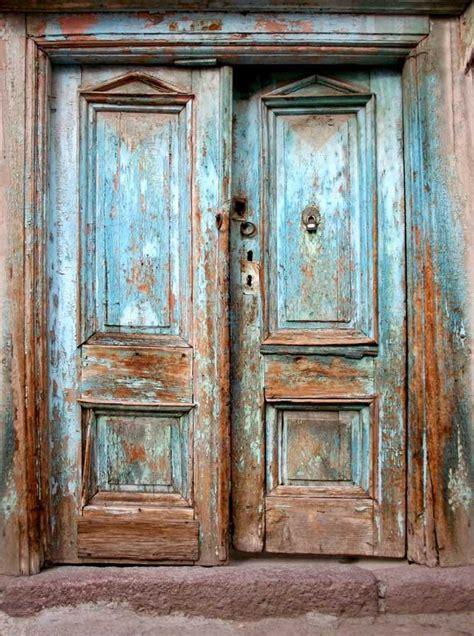 Blue Rustic Vintage Doors Printed Photography Backdrop