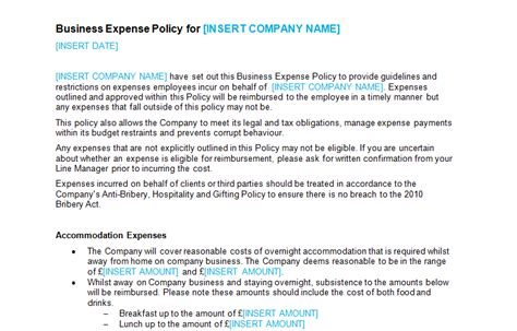 Business Expense Policy Template