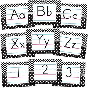 black white chevrons and dots alphabet bulletin board With white bulletin board letters