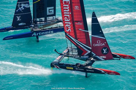 Catamaran Yacht Racing by America S Cup 2017 Bermuda Louis Vuitton Final Artemis