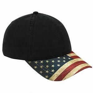 six panel low profile baseball cap us flag design visor