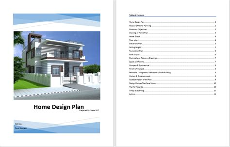 home design plan template word templates