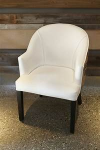 White Faux Leather   Burlap Dining Chair