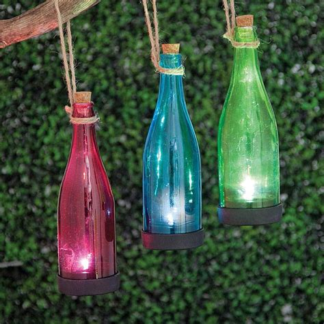 Blue Solar Powered Hanging Glass Bottle | Bits and Pieces UK