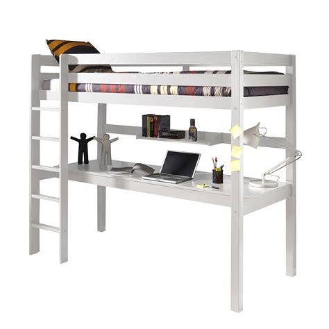 lit surélevé avec bureau intégré lit mezzanine en pin massif 90x200cm avec bureau intégré