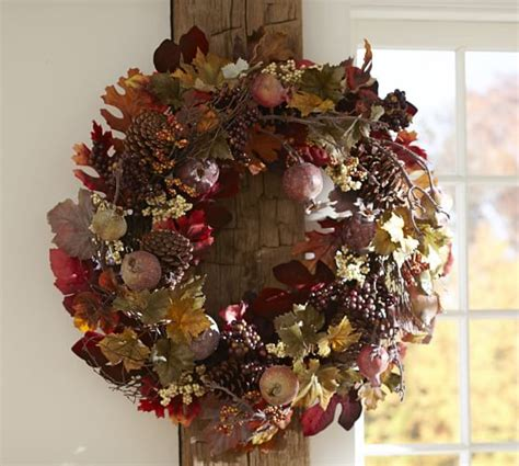 pottery barn wreath harvest pomegranate pinecone wreath garland pottery barn