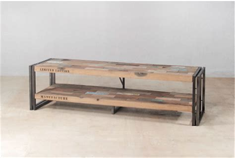 meuble industriel bois recycl 233 meuble tv 2 plateaux