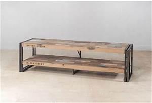 Meuble Metal Industriel Pas Cher : meuble industriel bois recycl meuble tv 2 plateaux ~ Melissatoandfro.com Idées de Décoration