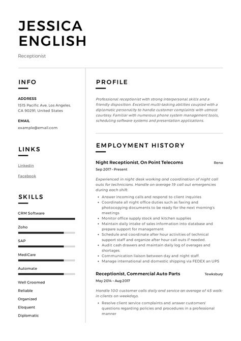 Sles Of Receptionist Resumes by Receptionist Resume Exle Writing Guide 12 Sles