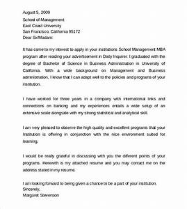 Mba Cover Letter Sample Free 9 Sample Professional Cover Letter Examples In Pdf
