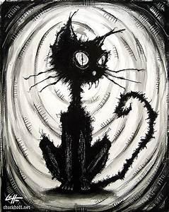 Print 8x10 Black Cat 4 Watercolor Ink Cats Animal