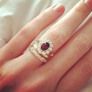vintage wedding set rhodolite garnet and yellow gold With non traditional wedding ring sets