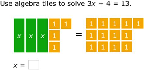 algebra tiles solving equations ixl model and solve equations using algebra tiles 8th