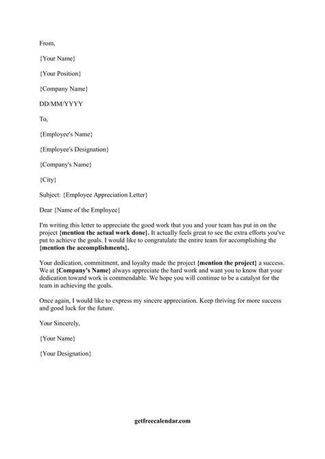 sample appreciation letter  good work  employee