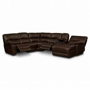 Wyoming godiva 5 pc reclining sectional american for 5 pc sectional sofas