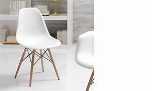 chaise blanche et bois clair moderne xanda lot de 4 With salle À manger contemporaine avec chaises blanches pied bois