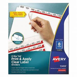 Averyr print apply clear label dividers w white tabs 8 for Avery 8 tab printable dividers