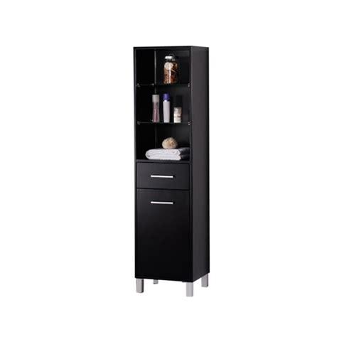 fresca espresso bathroom linen side cabinet w 3 open