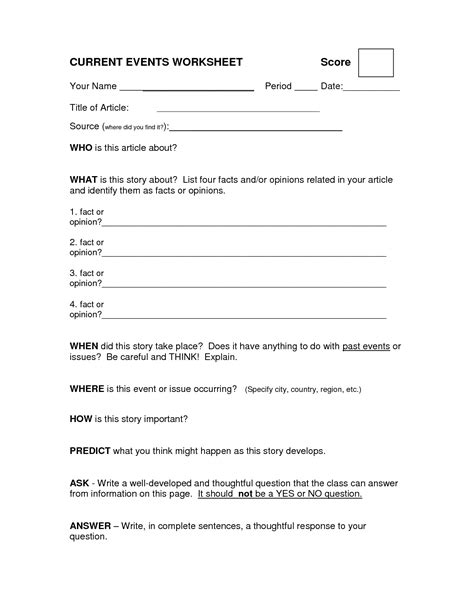 18 Best Images Of Current Events Worksheet Template Elementary  Current Events Worksheet
