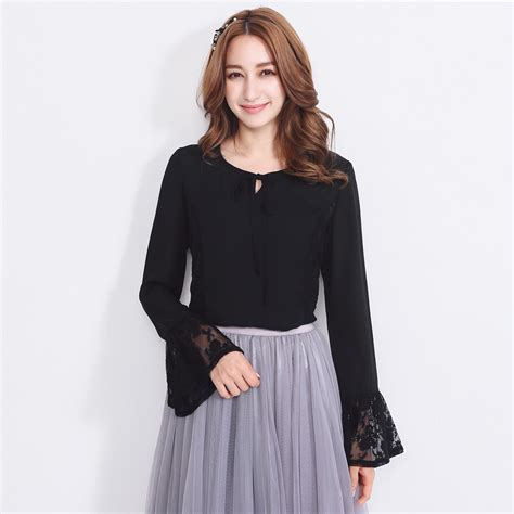 yoco womens bell sleeve lace blouse with tie neck korean fashion