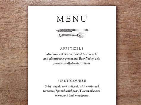 printable menu template   simple vintage element