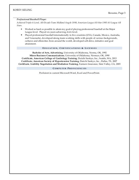 Professional Baseball Player Resume by Korey Keling Resume Dec 2015