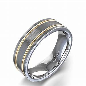 carved men39s two tone wedding ring in 14k gold With two tone mens wedding ring
