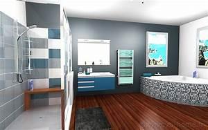 best salle de bains deco mer beige bleu images With decoration salle de bain bleu
