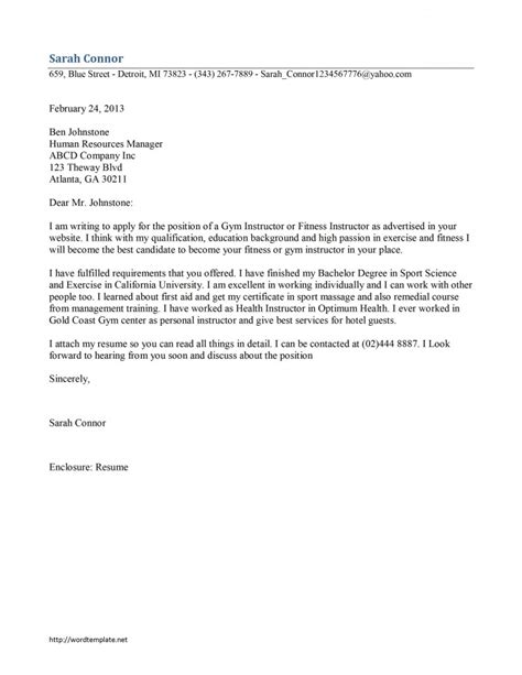 instructor cover letter template free microsoft word