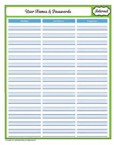 Free Printable Password Log Sheets