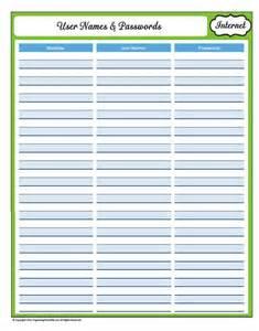 Free Printable Password Log Sheets