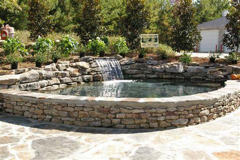 raised pond patio  bench finished raised pond pond design pond fountains